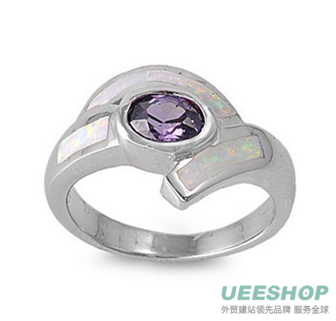 Sterling Silver Woman's Purple Colored CZ Ring Classic Comfort Fit Pure 925 Band 14mm Early Black Friday Sale
