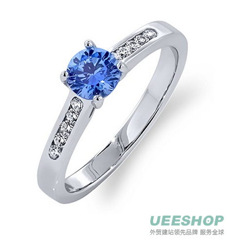 1.76 Ct Fancy Blue 925 Sterling Silver Ring Made With Swarovski Zirconia