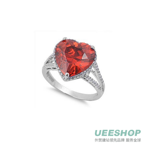 Sterling Silver Woman's Red Colored CZ Heart Ring Fashion Comfort Fit 925 Band 14mm Early Black Friday Sale