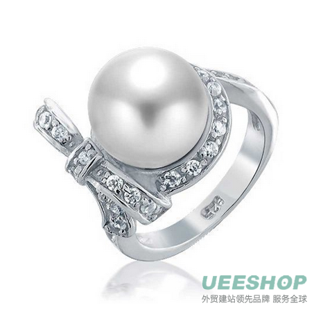 Bling Jewelry Bridal Cubic Zirconia Bow Ribbon White Shell Pearl 925 Silver Rings