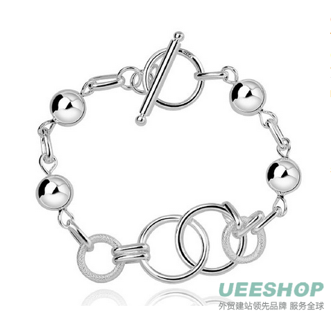 fashion 925 sterling silver jewelry circles chain trendy lady bracelet bangle