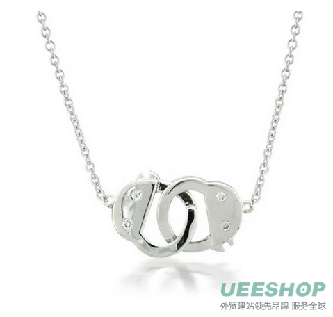 Bling Jewelry Fetish Handcuff Necklace CZ 925 Sterling Silver Shades of Grey