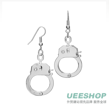 Cammy's handcuff Earrings - Silver Tone handcuff Jewelry