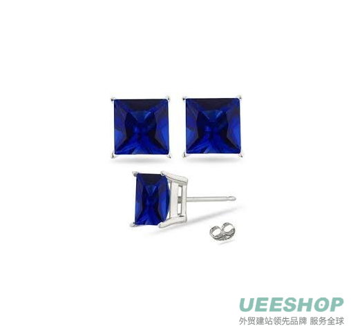 2.00 Carat Princess Sapphire Blue Cubic Zirconia Cz Stud Earrings. Sterling Silver 925 Tarnish Free & Nickel Free Top Quality Rhodium Finish