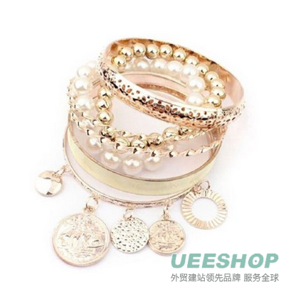 Doinshop New Useful Cute Nice Korean Style Girls Exquisite Coin Pearl Hollow Bracelet Jewelry