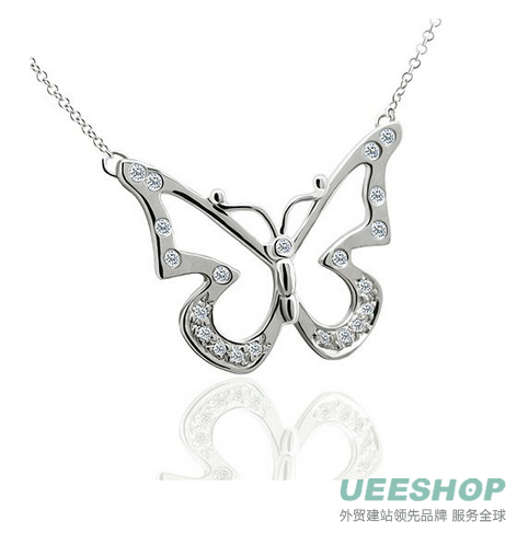 0.25CT Diamond 14K White Gold Butterfly Pendant Necklace