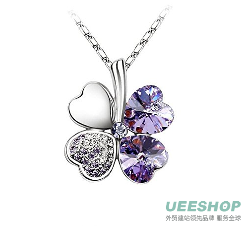 Hot WomeHot NEW Silver Plated Crystal Lucky Clover Pendant Necklace Fashion Jewelry